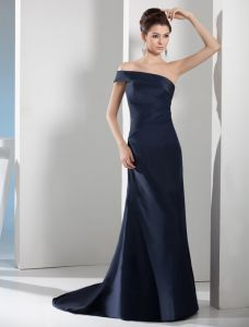 2015 Chic A-line One Shoulder Off-the-shoulder Navy Blue Evening Dress