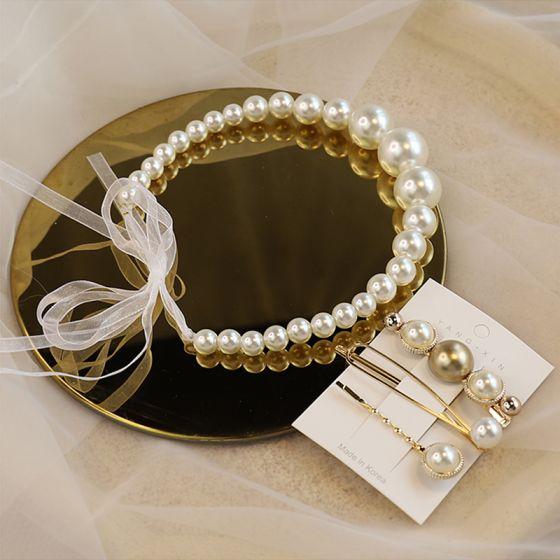 Eleganta Elfenben Pärla Pannband Brud Huvudbonad 2020 Snörning Hårsmycken Örhängen Brudsmycken