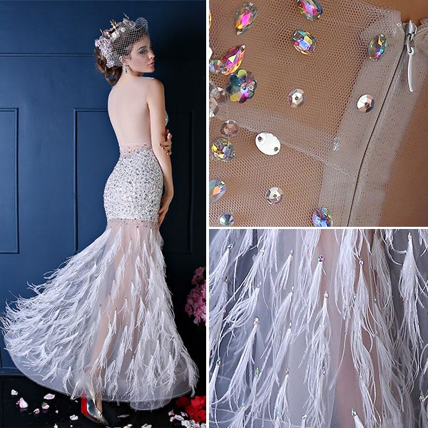 Sexy White Prom Dress Mermaid Transparent Tulle Feather Party Dress With Sequins And Rhinestone