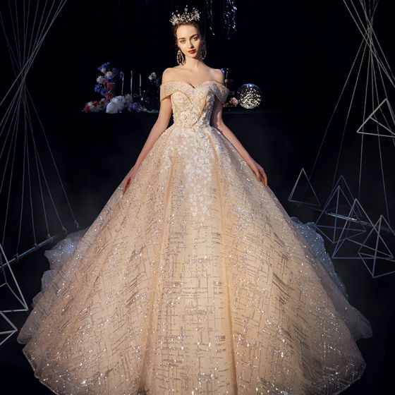 Sparkly Champagne Wedding Dresses 2019 A-Line / Princess Off-The-Shoulder Short Sleeve Backless Appliques Lace Glitter Tulle Cathedral Train Ruffle