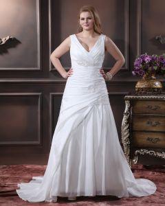 Satin Sicke Applique Mit V-ausschnitt Sweep Große Größen Brautkleider Hochzeitskleid