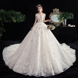 Chic / Beautiful Ivory Star Wedding Dresses 2020 Ball Gown See-through Square Neckline Short Sleeve Backless Glitter Tulle Appliques Lace Beading Cathedral Train Ruffle