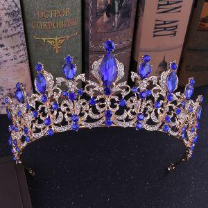 Vintage Königliches Blau Strass Diadem Haarschmuck Braut  2020 Legierung Hochzeit Brautaccessoires