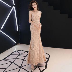 Bling Bling Champagner Abendkleider 2019 Meerjungfrau Rundhalsausschnitt Ärmellos Glanz Pailletten Lange Rüschen Festliche Kleider