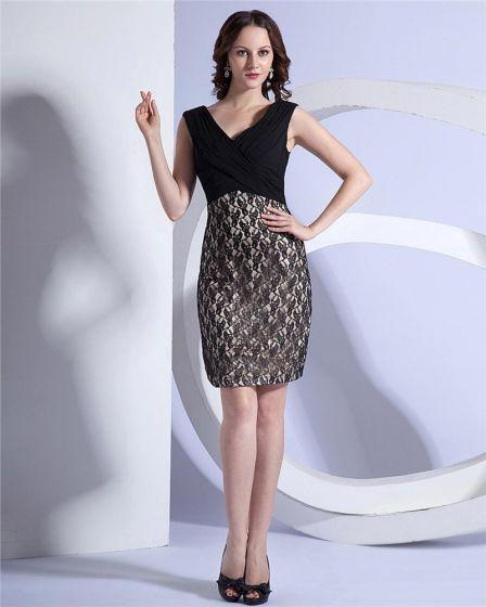 Empire V-Neck Sleeveless Knee-length Satin Lace Party Black Dress