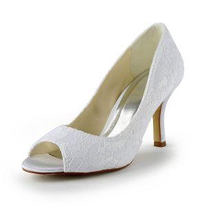 Classiques Chaussures De Mariée En Dentelle Blanche Peep Toe Escarpins À Talons Aiguilles