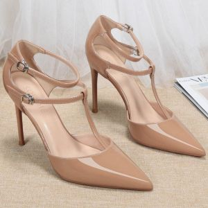 Chic / Beautiful Nude Street Wear Patent Leather Womens Sandals 2020 T-Strap 10 cm Stiletto Heels Pointed Toe Sandals