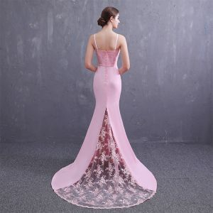 Elegant Candy Pink Satin Evening Dresses  2019 Trumpet / Mermaid Spaghetti Straps Sleeveless Sash Appliques Lace Beading Pearl Sweep Train Ruffle Backless Formal Dresses
