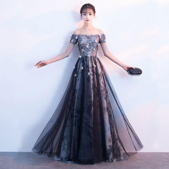 acf7c7a8a Hermoso Negro Vestidos de noche 2018 A-Line   Princess Apliques Con Encaje  Flor Crystal Lentejuelas Fuera Del Hombro Sin Mangas Sin Espalda ...