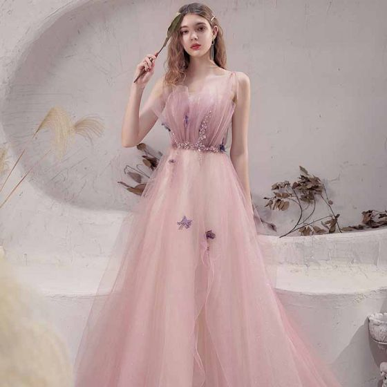Best Blushing Pink Prom Dresses 2021 A-Line / Princess Spaghetti Straps Sleeveless Appliques Lace Beading Glitter Tulle Sweep Train Ruffle Backless Formal Dresses