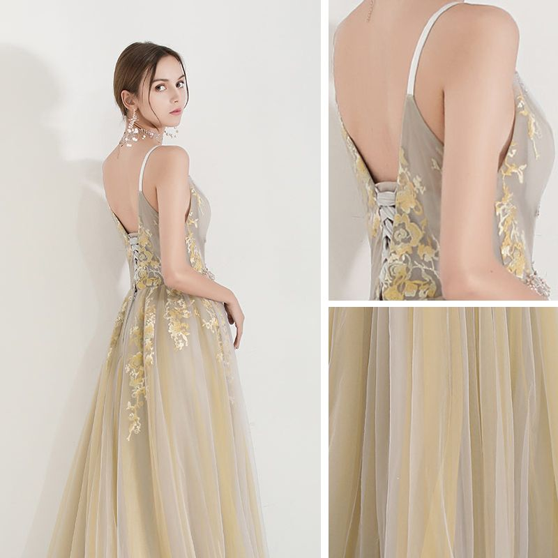 Charming Yellow Evening Dresses  2019 A-Line / Princess Spaghetti Straps V-Neck Sleeveless Appliques Lace Beading Floor-Length / Long Ruffle Backless Formal Dresses