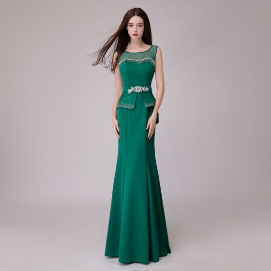 Vintage / Retro Green Evening Dresses  2018 Trumpet / Mermaid Rhinestone Sash Scoop Neck Backless Sleeveless Floor-Length / Long Formal Dresses