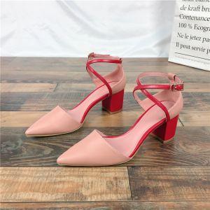 Enkel Rød Casual Sandaler Dame 2019 Lær Ankelstropp 6 cm Tykk Hæler Spisse Sandaler