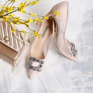 Hermoso Beige 9 cm Zapatos de novia 2019 De Encaje Tul Rebordear Crystal Rhinestone High Heels Punta Estrecha Zapatos De Mujer