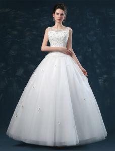 Épaules Robe De Bal Décolleté Carré De Fleurs À La Main Organza Robe De Mariée