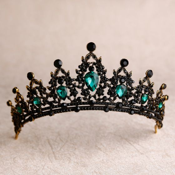Vintage / Retro Baroque Green Rhinestone Tiara 2020 Alloy Bridal Hair Accessories