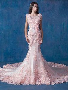 Glamour Różowa Suknia Ślubna Syrena Suknie Ślubne Aplikacja Organzy