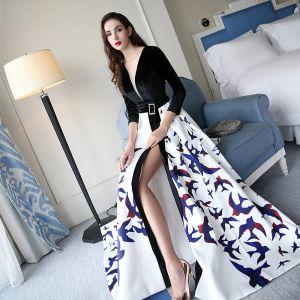 Chic / Belle Noire Robe De Soirée 2017 Princesse V-Cou Bretelles croisées Dos Nu Impression Charmeuse Soirée