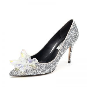 Charming Silver Cinderella Wedding Shoes 2019 Crystal Sequins 10 cm Stiletto Heels Pointed Toe Wedding Pumps
