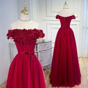 Piękne Burgund Sukienki Wieczorowe 2020 Princessa Przy Ramieniu Cekiny Z Koronki Kwiat Aplikacje Kótkie Rękawy Bez Pleców Długie Sukienki Wizytowe