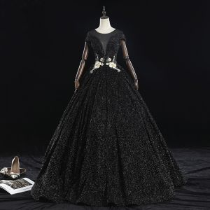 Classy Black Prom Dresses 2019 A-Line / Princess Scoop Neck Beading Crystal Pearl Rhinestone Lace Flower Short Sleeve Backless Floor-Length / Long Formal Dresses