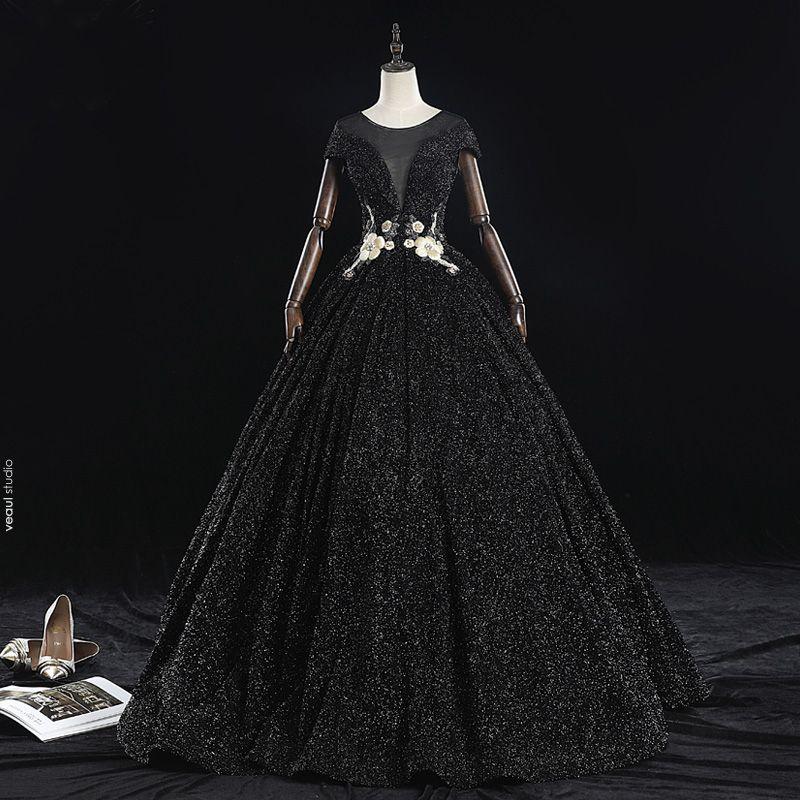 Classy Black Prom Dresses 2019 A-Line / Princess Scoop Neck Beading Crystal Pearl Rhinestone Lace Flower Short Sleeve Backless Floor-Length / Long Formal Dresses