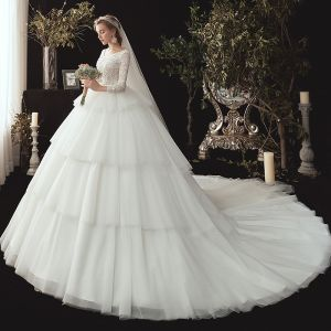 Chic / Beautiful Ivory Wedding Dresses 2020 Ball Gown Scoop Neck 3/4 Sleeve Backless Appliques Lace Sequins Beading Chapel Train Cascading Ruffles