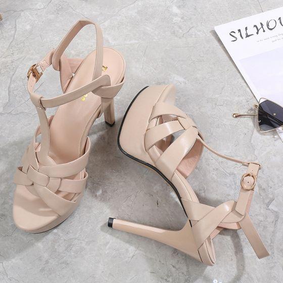 Mode Römisch Beige Strassenmode Sandalen Damen 2021 11 cm Stilettos T-Riemen Peeptoes Sandaletten Hochhackige