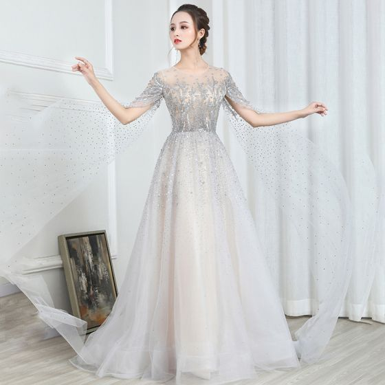 Illusion Champagne Grey See-through Evening Dresses  2020 A-Line / Princess Scoop Neck Short Sleeve Sequins Beading Glitter Tulle Watteau Train Formal Dresses