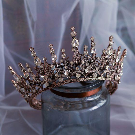 Vintage / Originale Baroque Noire Faux Diamant Tiare 2019 Métal Accessoire Cheveux Mariage