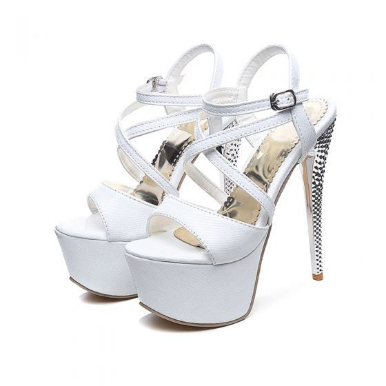 Chic / Beautiful Prom Womens Sandals 2017 PU X-Strap Platform Open / Peep Toe High Heel Sandals