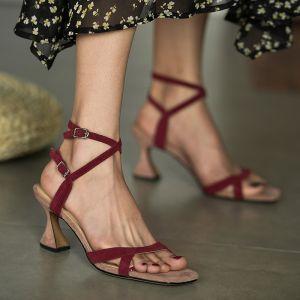 Schlicht Burgunderrot Freizeit Sandalen Damen 2020 Leder Knöchelriemen 7 cm Stilettos Peeptoes Sandaletten