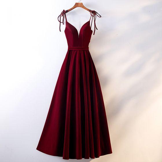 Chic / Beautiful Burgundy Evening Dresses  2019 A-Line / Princess Spaghetti Straps Suede Sash Sleeveless Backless Floor-Length / Long Formal Dresses