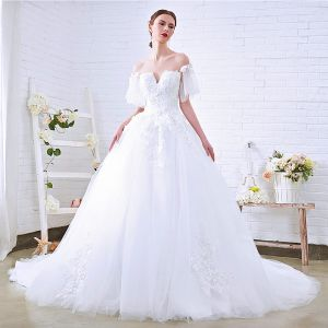 Discount White See-through Wedding Dresses 2018 Ball Gown Scoop Neck Short Sleeve Appliques Lace Cathedral Train Ruffle