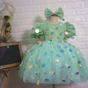 Fairytale Mint Green Birthday Flower Girl Dresses 2020 Ball Gown Scoop Neck Puffy Short Sleeve Sequins Short Ruffle Wedding Party Dresses