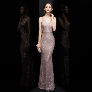 Affordable Rose Gold Sequins Evening Dresses  2020 Trumpet / Mermaid V-Neck Sleeveless Floor-Length / Long Ruffle Backless Formal Dresses