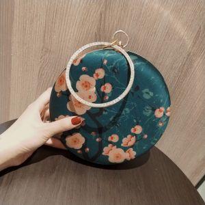 Vintage / Retro Ink Blue Printing Flower Round Clutch Bags 2020 Metal Rhinestone