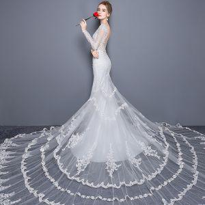 Elegante Kirche Brautkleider 2017 Weiß Mermaid Königliche Schleppe V-Ausschnitt Lange Ärmel Rückenfreies Mit Spitze Applikationen