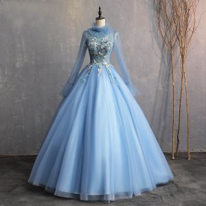 Vintage / Retro Sky Blue 2019 A-Line / Princess Formal Dresses High Neck Beading Pearl Appliques Lace Long Sleeve Backless Floor-Length / Long Prom Dresses