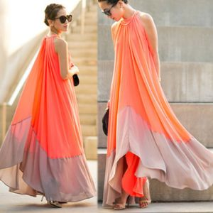 Chic / Beautiful Orange Summer Casual Maxi Dresses 2018 Pleated Scoop Neck Sleeveless Floor-Length / Long Womens Clothing