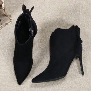 Elegante Schwarz Strassenmode Ankle Boots Stiefel Damen 2020 Schleife 10 cm Stilettos Spitzschuh Stiefel