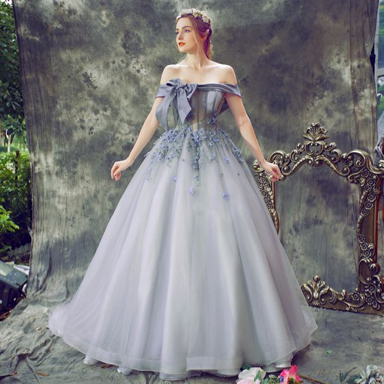 Elegant Lavender Prom Dresses 2018 Ball Gown Appliques Bow Off-The-Shoulder Backless Sleeveless Court Train Formal Dresses