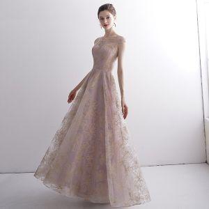 Élégant Rougissant Rose Transparentes Robe De Soirée 2020 Princesse Encolure Dégagée Sans Manches Glitter Appliques En Dentelle Longue Volants Robe De Ceremonie