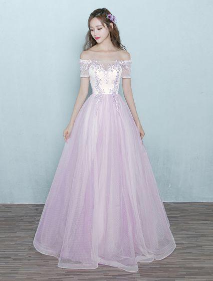 5f73e7b93 Elegante Vestido Largo De Baile Tul Rosa Sobre El Hombro Vestido De Bola  Con Encaje