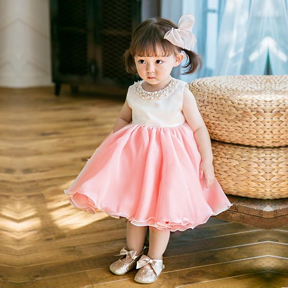 Śliczny Różowy Perłowy Organza Urodziny Sukienki Dla Dziewczynek 2020 Suknia Balowa Wycięciem Bez Rękawów Perła Krótkie Wzburzyć Sukienki Na Wesele