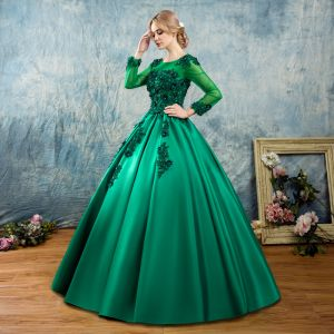 Chic / Beautiful Dark Green Prom Dresses 2017 Ball Gown Scoop Neck Long Sleeve Appliques Flower Pearl Beading Floor-Length / Long Ruffle Pierced Backless Formal Dresses