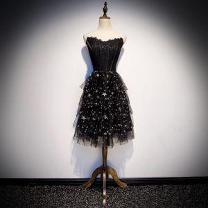 Moderne / Mode Noire Robe De Fete 2019 Princesse Amoureux Sans Manches Étoile Brodé Mi-Longues Volants Dos Nu Robe De Ceremonie