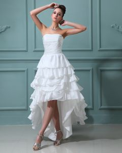 Ruffles Taffeta Sleeveless Sweetheart Short Mini Wedding Dresses