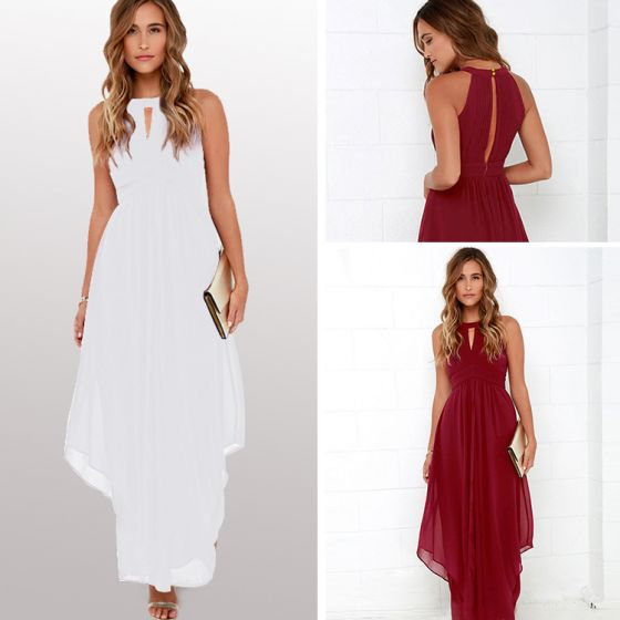 Modest / Simple Casual Burgundy Maxi Dresses 2018 A-Line / Princess Backless Scoop Neck Sleeveless Ankle Length Womens Clothing