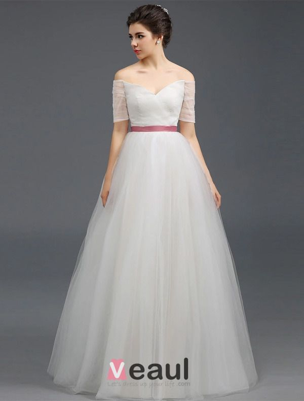 2015 A-line Off The Shoulders Short Sleeves Ruffle Tulle Wedding Dress